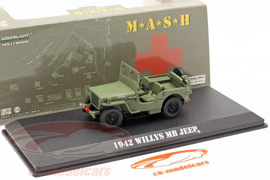 Jeep Willys MB 1942 televisión serie M*A*S*H* (1972-83) aceituna 1:43 Greenlight