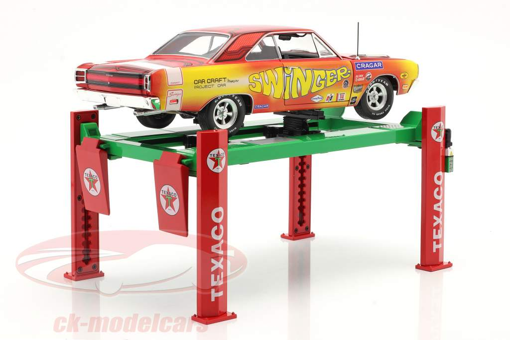 Regolabile four post Piattaforma elevatrice Texaco verde / rosso 1:18 Greenlight
