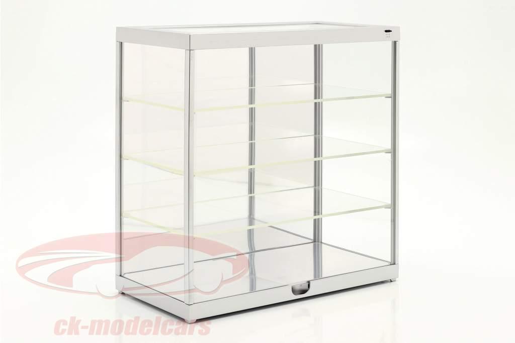 Einzelvitrine mit LED-Beleuchtung und Spiegel für 1:18 / 1:24  silber Triple9