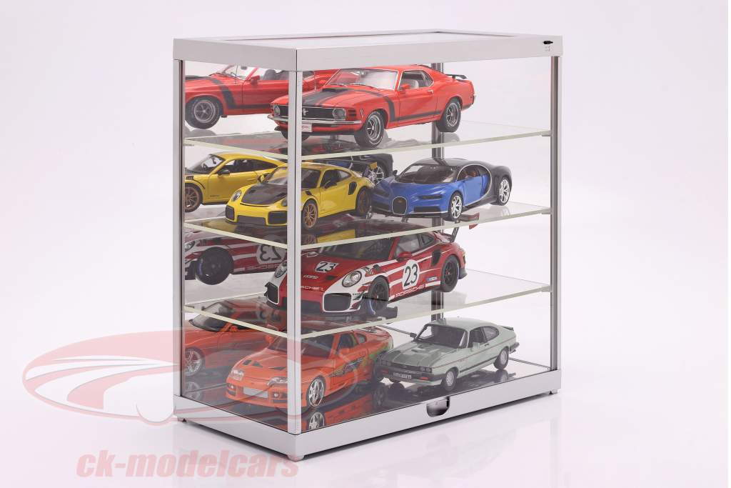 Single showcase with LED lighting and mirror for 1:18 / 1:24 silver Triple9