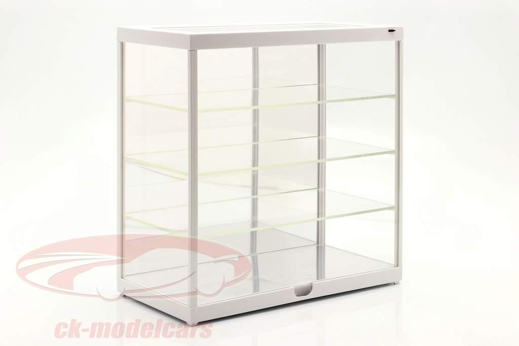 Einzelvitrine mit LED-Beleuchtung und Spiegel für Maßstab 1:24 weiß Triple9