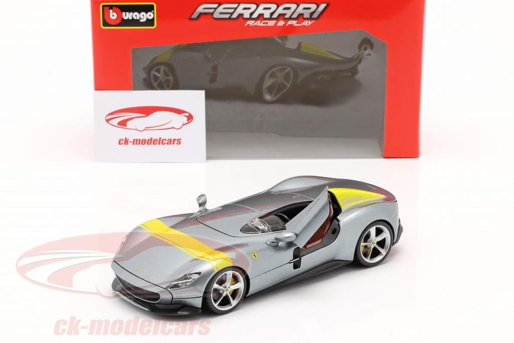 Ferrari Monza SP1 Byggeår 2019 Grå metallisk / gul 1:24 Bburago