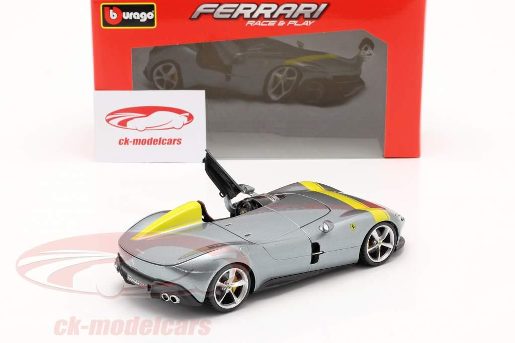Ferrari Monza SP1 Année de construction 2019 gris métallique / Jaune 1:24 Bburago