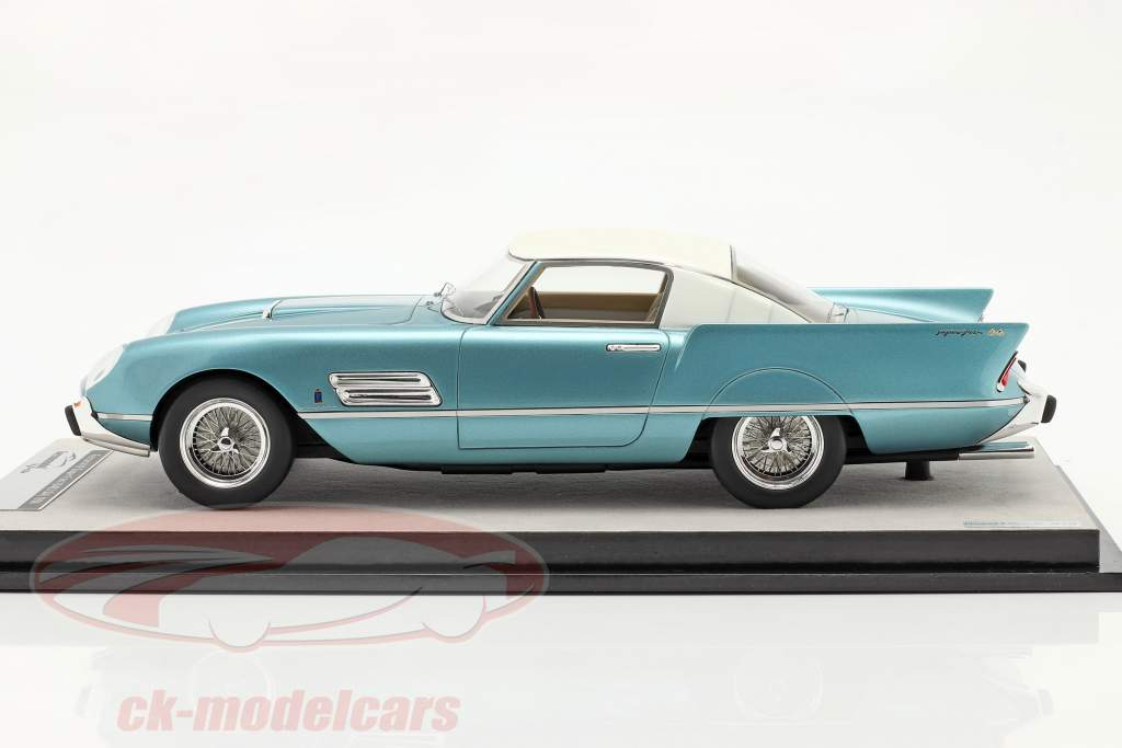 Ferrari 410 Superfast (0483SA) 1956 azuurblauw metalen / Wit 1:18 Tecnomodel