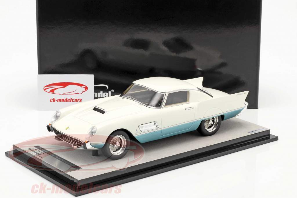 Ferrari 410 Superfast (0483SA) 1956 Blanco / azur metálico 1:18 Tecnomodel