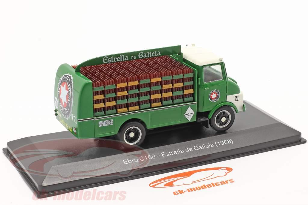 Ebro C150 Vrachtwagen Estrella de Galicia Bouwjaar 1968 groen 1:43 Altaya