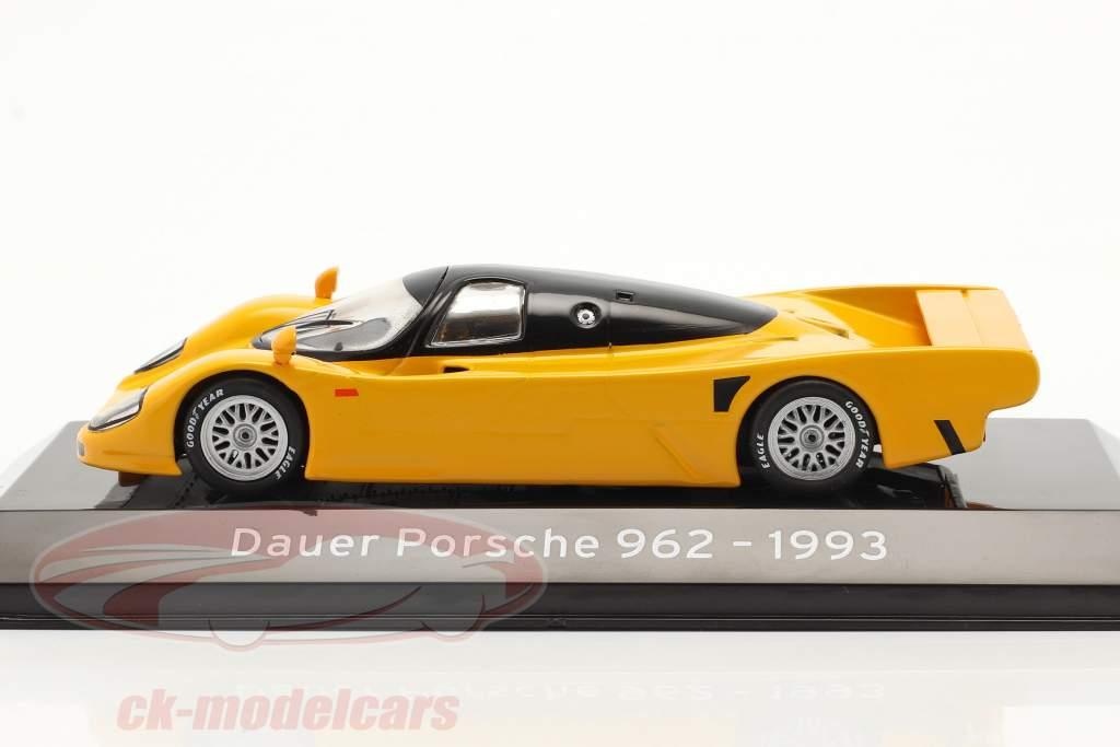 Dauer Porsche 962 Bouwjaar 1993 geel oranje 1:43 Altaya