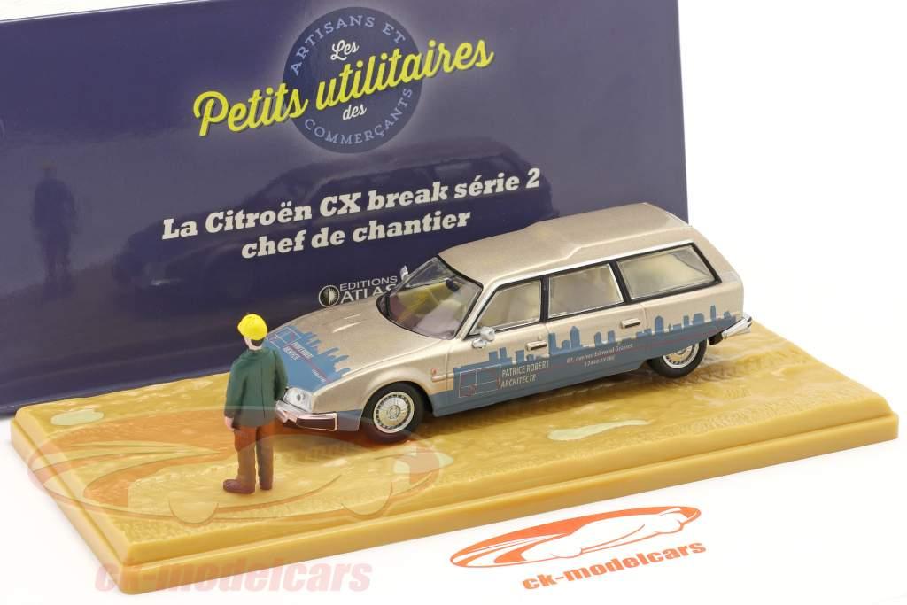 Citroen CX Break series 2 Chef de Chantier beige metallic / blue 1:43 Atlas