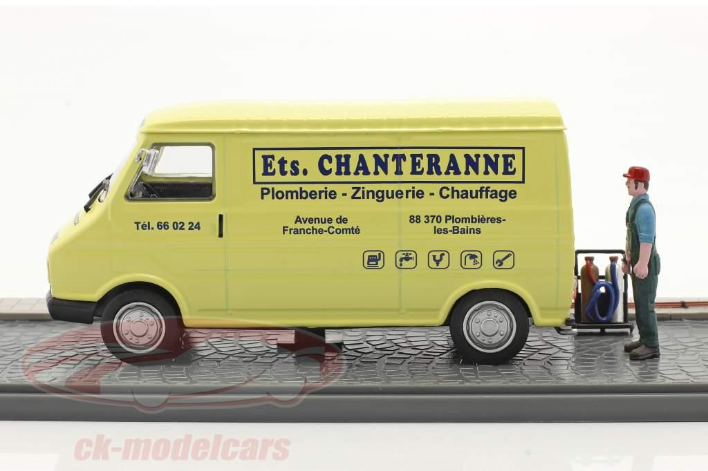 Citroen C35 Furgone box idraulico giallo chiaro / blu 1:43 Atlas