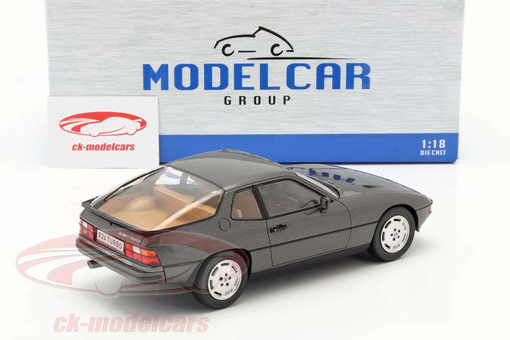 Porsche 924 Turbo Bouwjaar 1979 donkergrijs metalen 1:18 Model Car Group