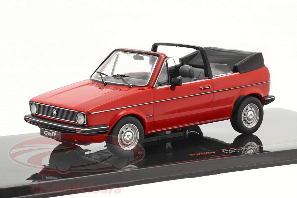 Volkswagen VW Golf I Cabriolet Byggeår 1981 rød 1:43 Ixo
