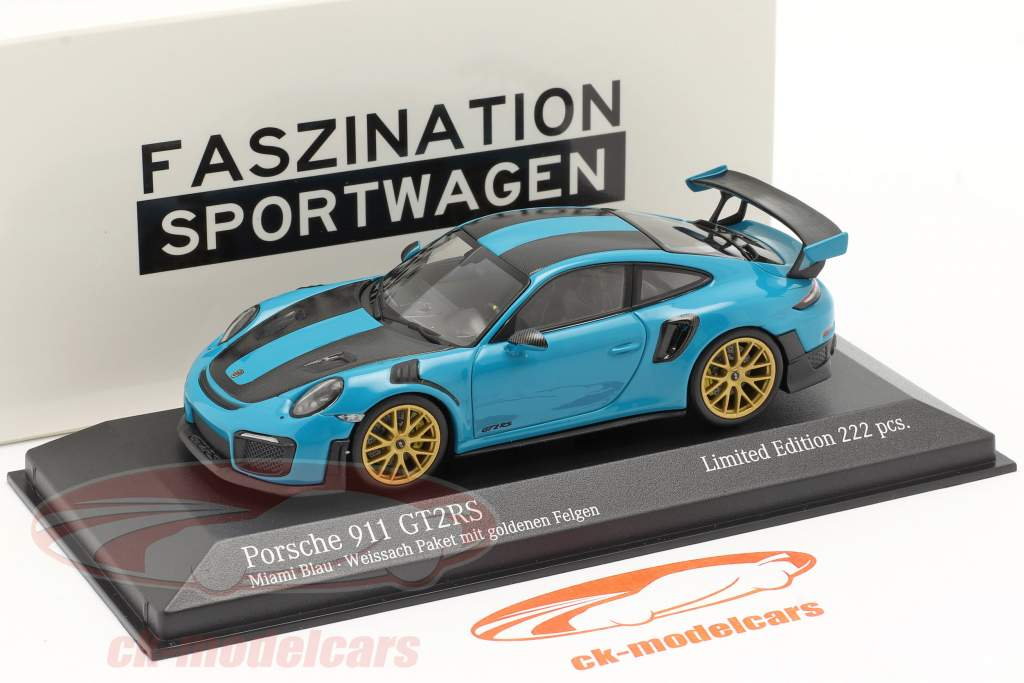Porsche 911 (991 II) GT2 RS Weissach Package 2018 miami azul 1:43 Minichamps