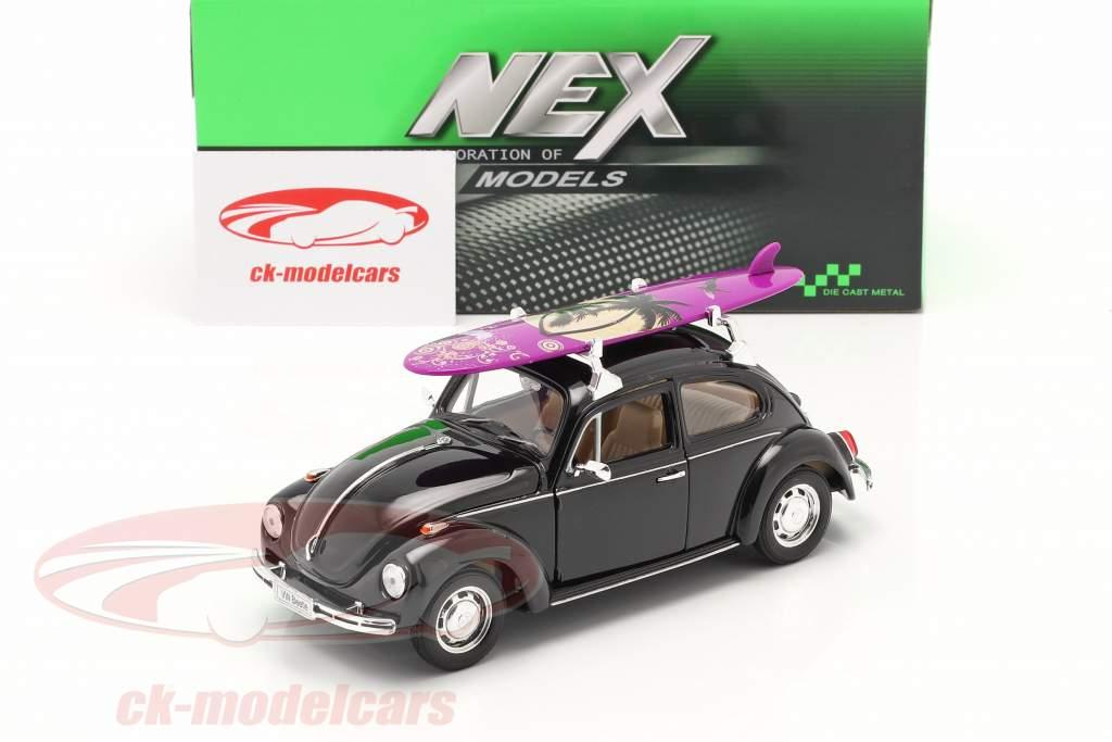 Volkswagen VW Käfer Hard Top 1959 noir Avec violet planche de surf 1:24 Welly