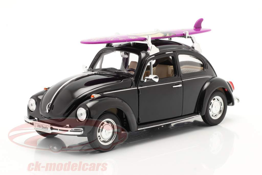 Volkswagen VW Käfer Hard Top 1959 schwarz mit lila Surfbrett 1:24 Welly