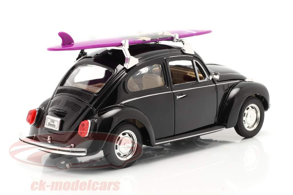 Volkswagen VW Käfer Hard Top 1959 negro Con púrpura tabla de surf 1:24 Welly