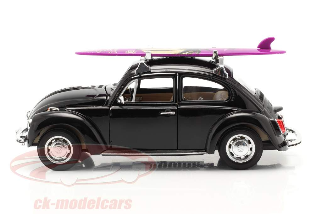 Volkswagen VW Käfer Hard Top 1959 Preto Com roxa prancha de surfe 1:24 Welly