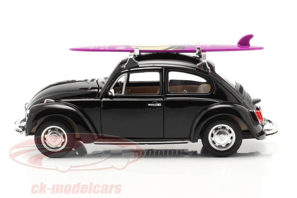 Volkswagen VW Käfer Hard Top 1959 zwart Met Purper surfplank 1:24 Welly