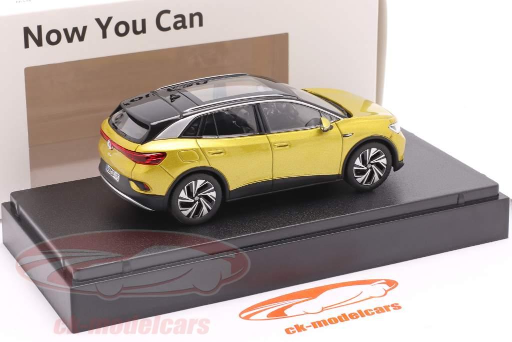 Volkswagen VW ID.4 Byggeår 2021 honning gul metallisk 1:43 Norev