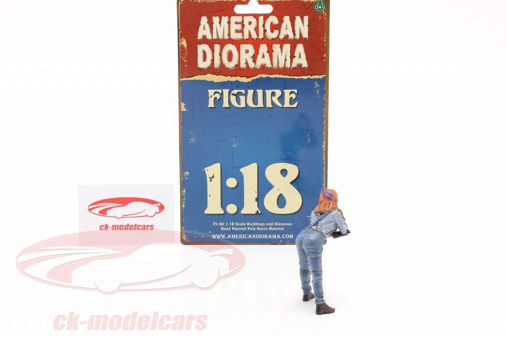 figura #1 Fêmea Machanic 1:18 American Diorama
