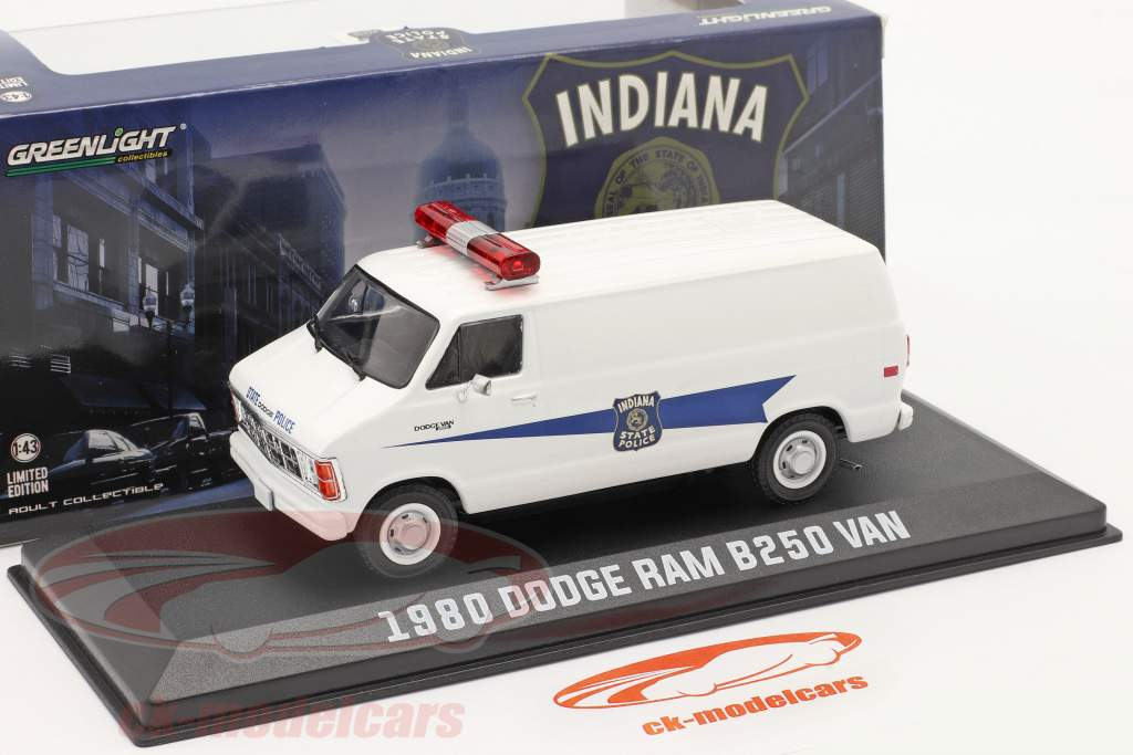 Dodge RAM B250 Van Indiana State Police 1980 Wit 1:43 Greenlight