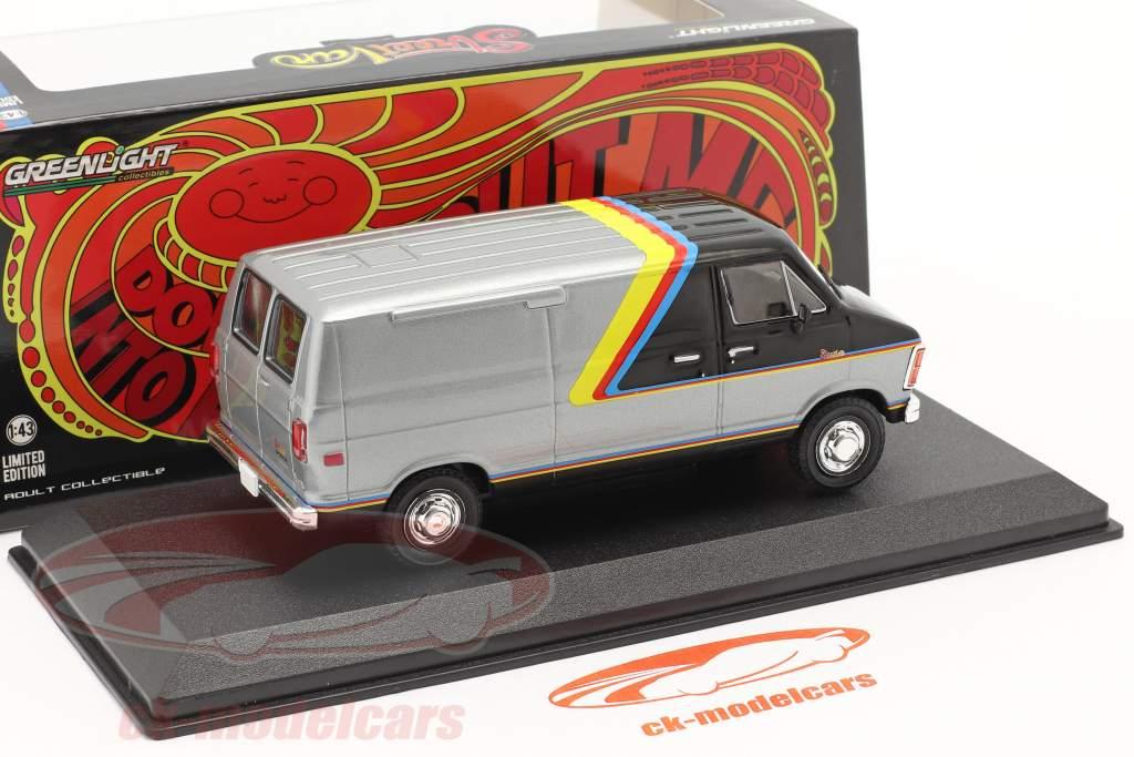 Dodge RAM B250 Van Anno di costruzione 1980 argento / nero con strisce 1:43 Greenlight