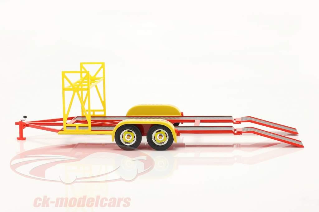 tandem Macchina trailer Shell giallo / rosso / argento 1:18 GMP