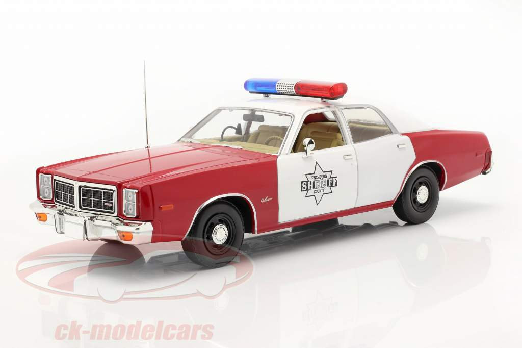 Dodge Monaco Finchburg County Sheriff 1977 White / red 1:18 Greenlight
