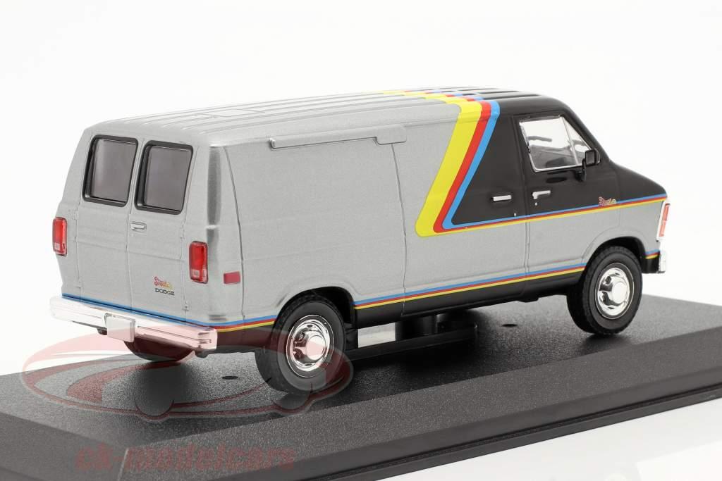 Dodge RAM B250 Van year 1980 silver / black with stripes 1:43 Greenlight