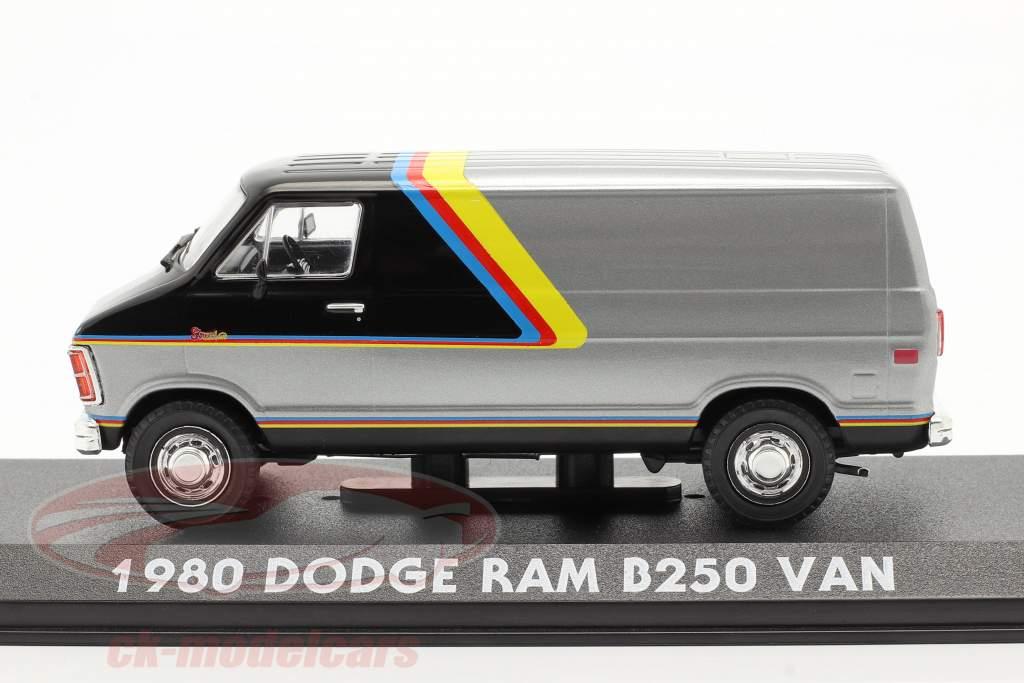 Dodge RAM B250 Van Année de construction 1980 argent / noir avec rayures 1:43 Greenlight