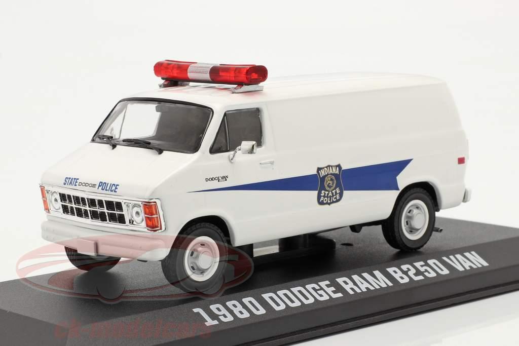 Dodge RAM B250 furgão Indiana State Police 1980 Branco 1:43 Greenlight