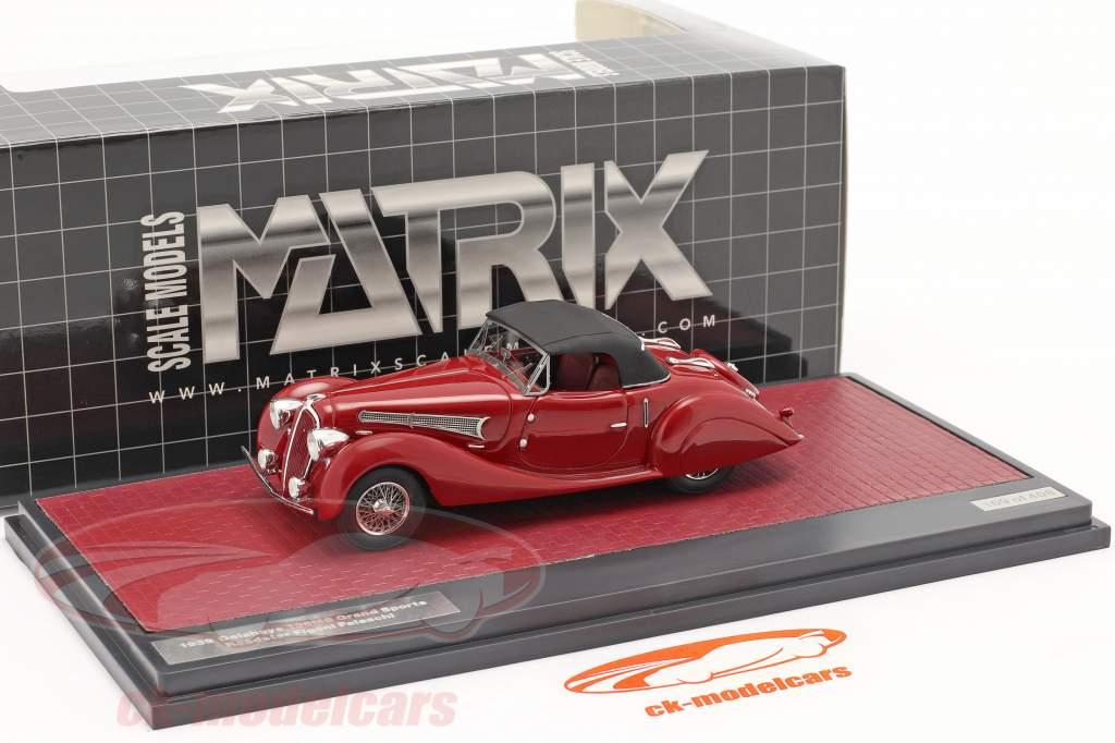 Delahaye 135MS Grand Sport Roadster Figoni Falschi 1939 donker rood 1:43 Matrix
