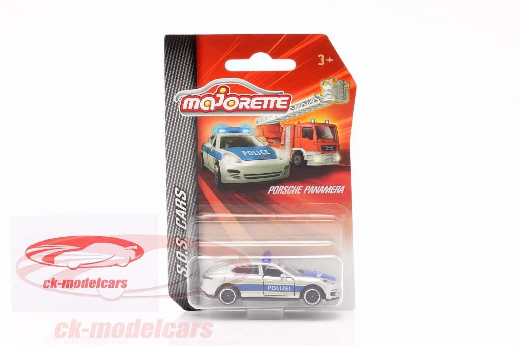 Porsche Panamera policía plata metálico / azul 1:64 Majorette