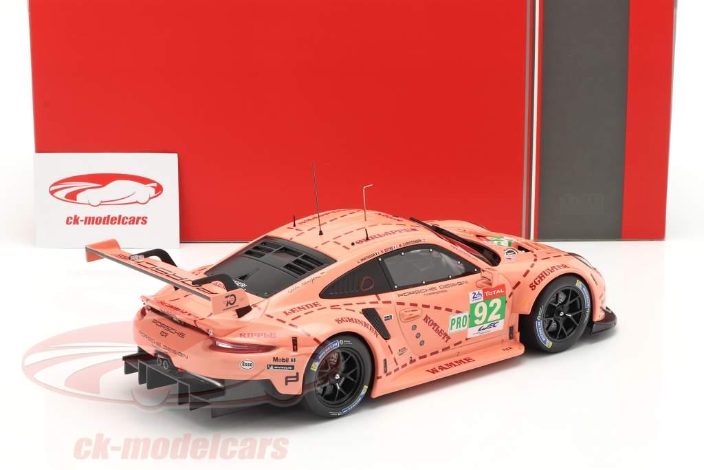 Porsche 911 (991) RSR #92 Clase Ganador LMGTE 24h LeMans 2018 Pink Pig 1:18 Ixo