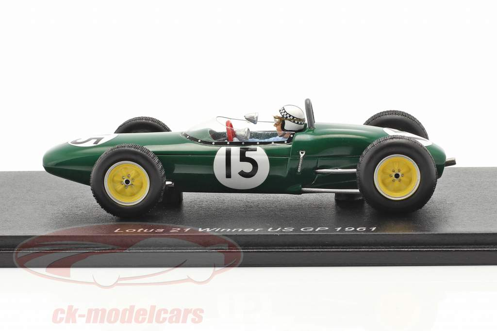 Innes Ireland Lotus 21 #15 vincitore Stati Uniti d'America GP formula 1 1961 1:43 Spark