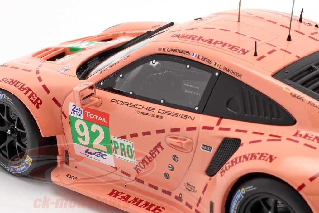 Porsche 911 (991) RSR #92 Classe Gagnant LMGTE 24h LeMans 2018 Pink Pig 1:18 Ixo