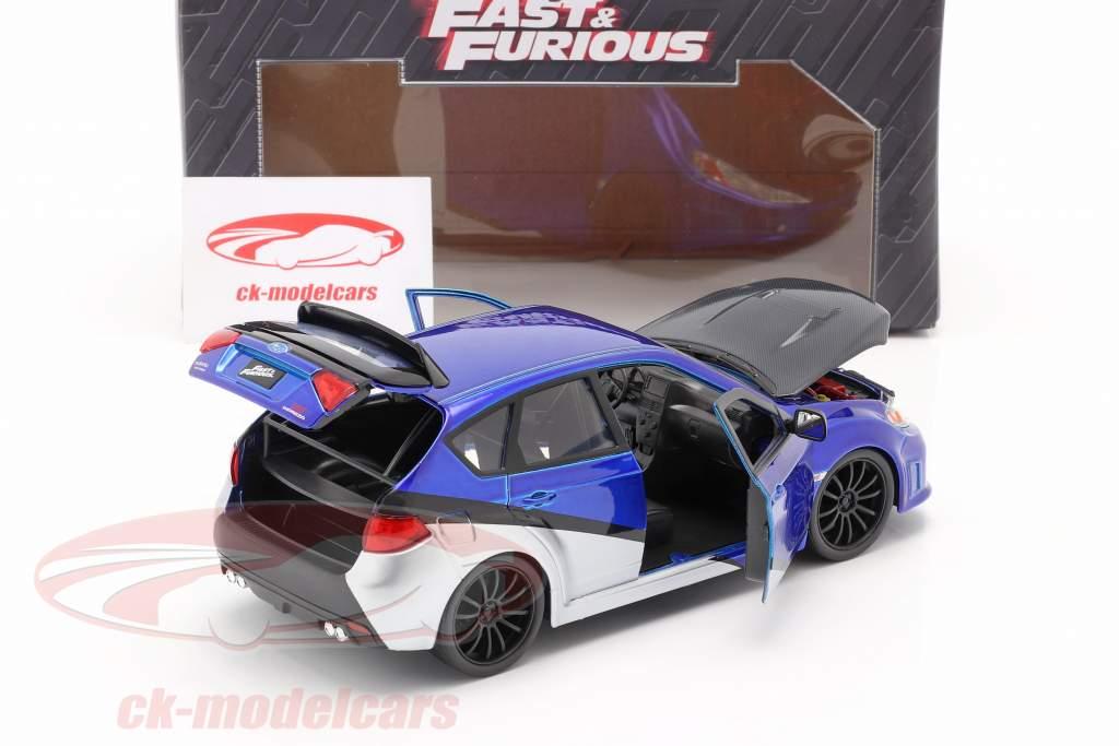 Brian's Subaru Impreza WRX STi film Fast & Furious (2009) blauw / zilver / zwart 1:24 Jada Toys