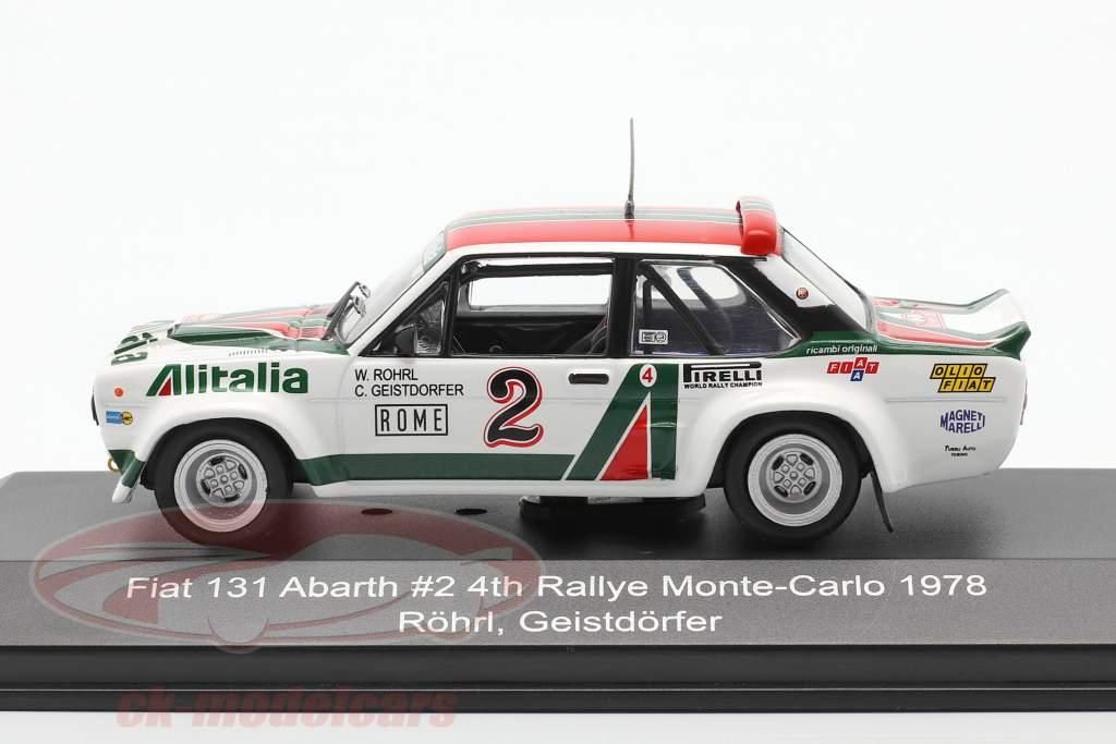 Fiat 131 Abarth #2 4 ° Rallye Monte Carlo 1978 Röhrl, Geistdörfer 1:43 CMR