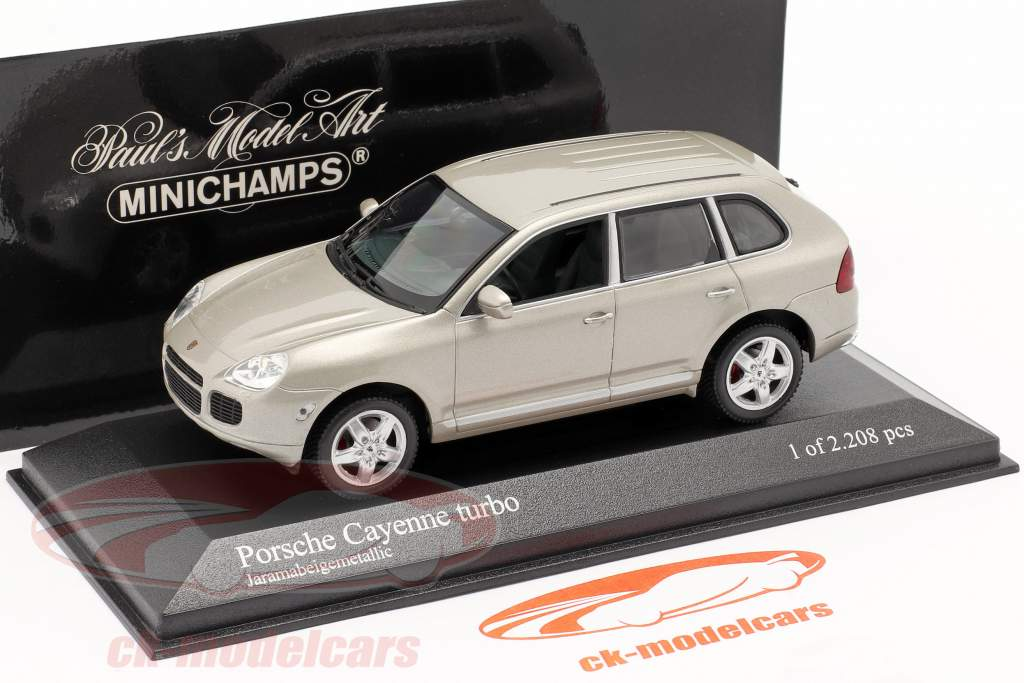 Porsche Cayenne Turbo Année 2002 beige 1:43 Minichamps