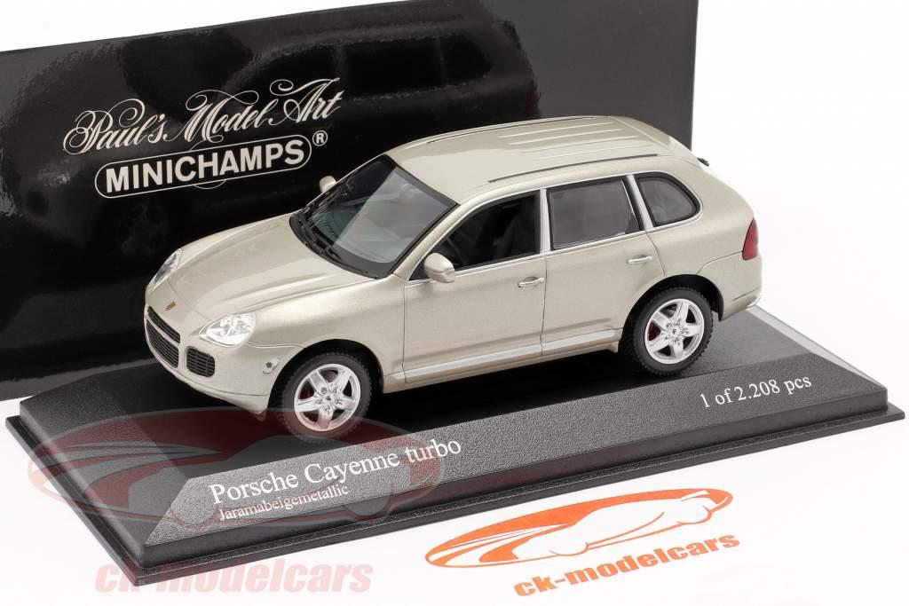 Porsche Cayenne Turbo Baujahr 2002 beige 1:43 Minichamps