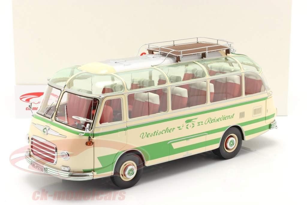 Setra S6 bus Vestischer Reisedienst Année de construction 1954-63 beige / vert 1:18 Schuco