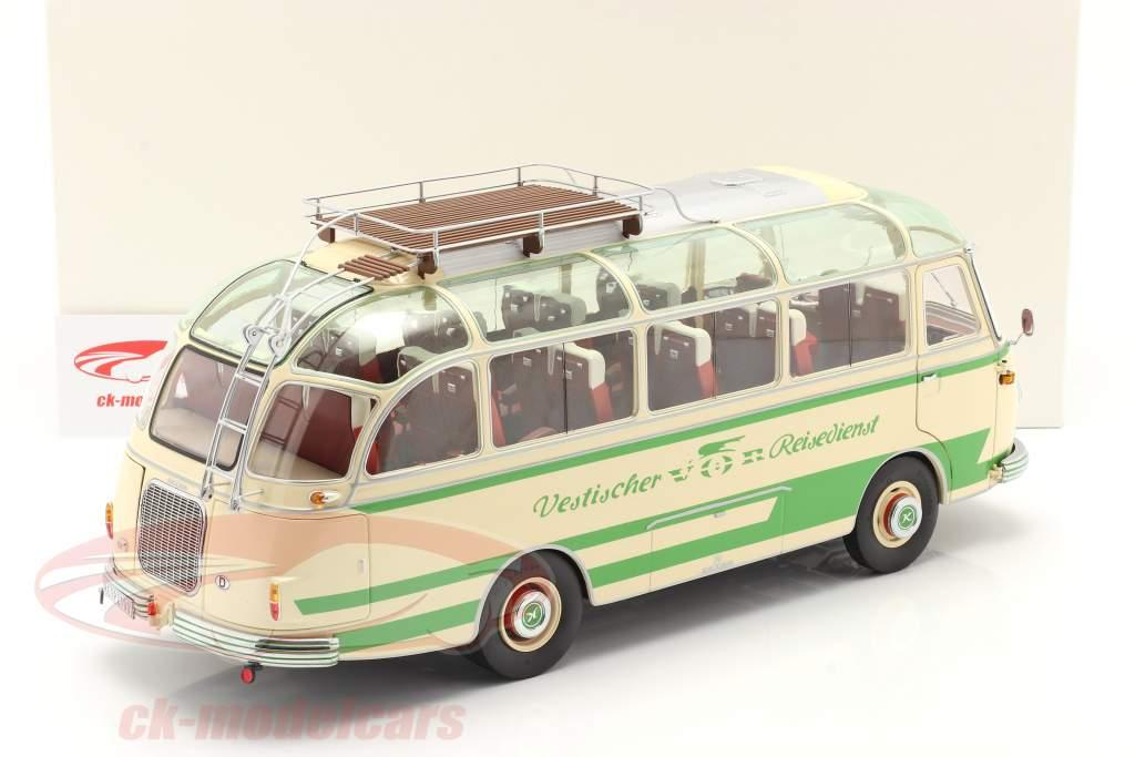Setra S6 autobus Vestischer Reisedienst Anno di costruzione 1954-63 beige / verde 1:18 Schuco