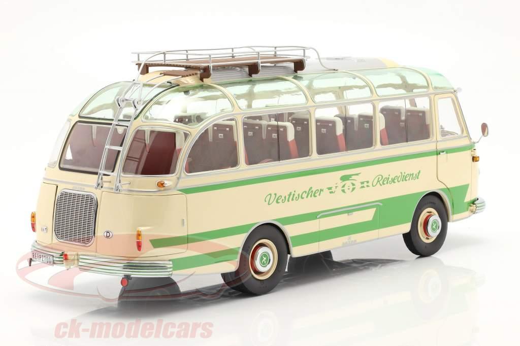 Setra S6 bus Vestischer Reisedienst Byggeår 1954-63 beige / grøn 1:18 Schuco