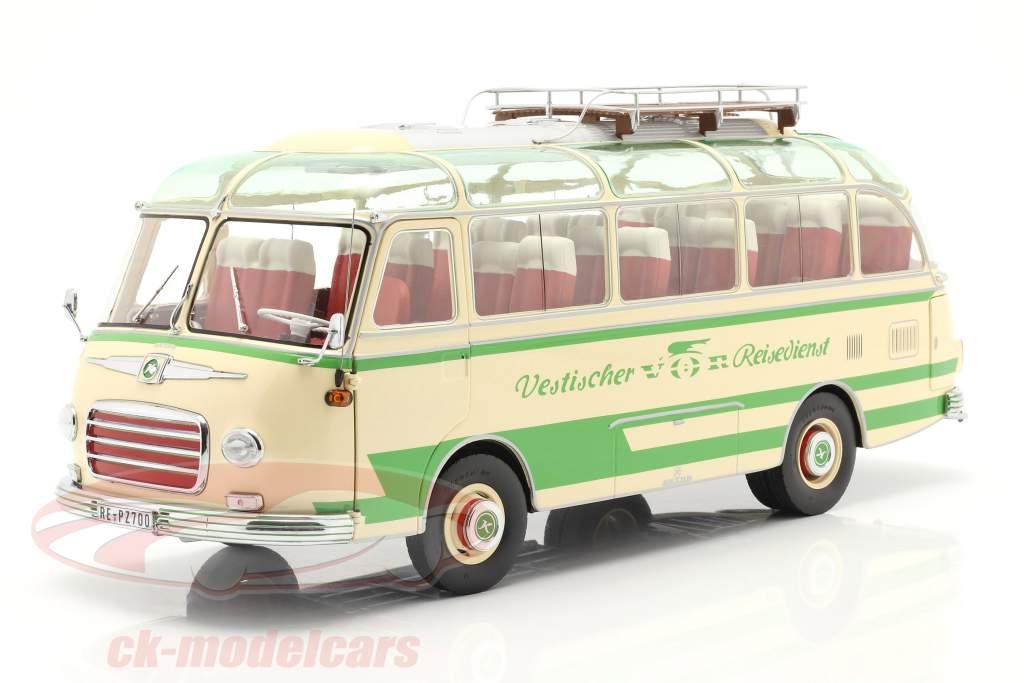 Setra S6 bus Vestischer Reisedienst Bouwjaar 1954-63 beige / groen 1:18 Schuco
