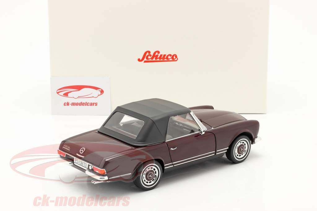 Mercedes-Benz 280 SL Pagode (W113) year 1963-71 bordeaux red 1:18 Schuco