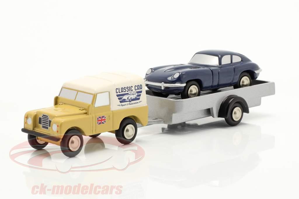 3-Car Set Land Rover con trailer e Jaguar E-Type 1:90 Schuco Piccolo