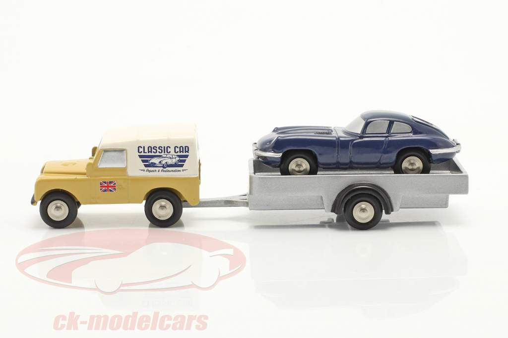 3-Car Set Land Rover with Trailer and Jaguar E-Type 1:90 Schuco Piccolo
