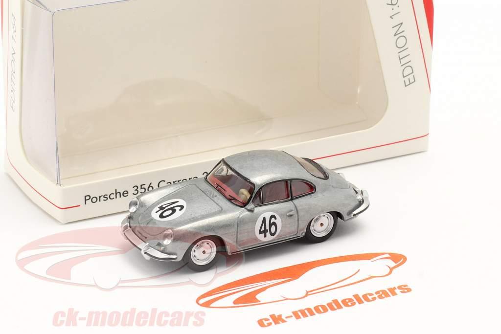 Porsche 356 Carrera 2 C #46 prata metálico 1:64 Schuco