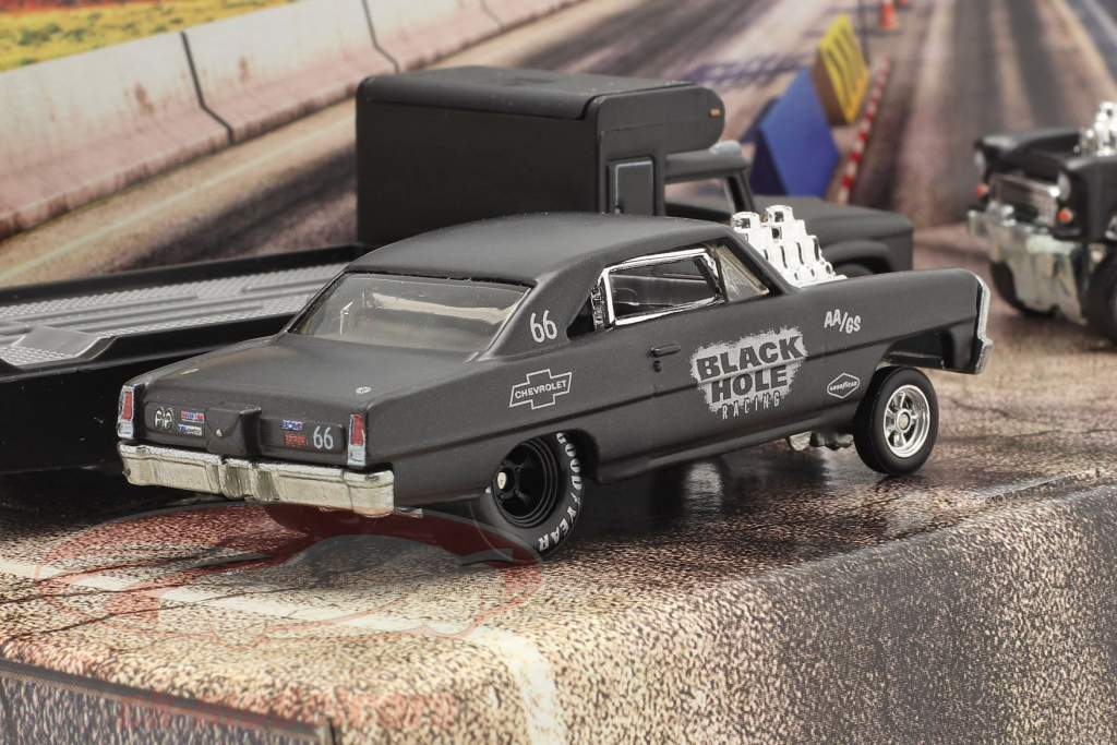 4-Car Set Black Hole Gassers mat dark grey 1:64 HotWheels