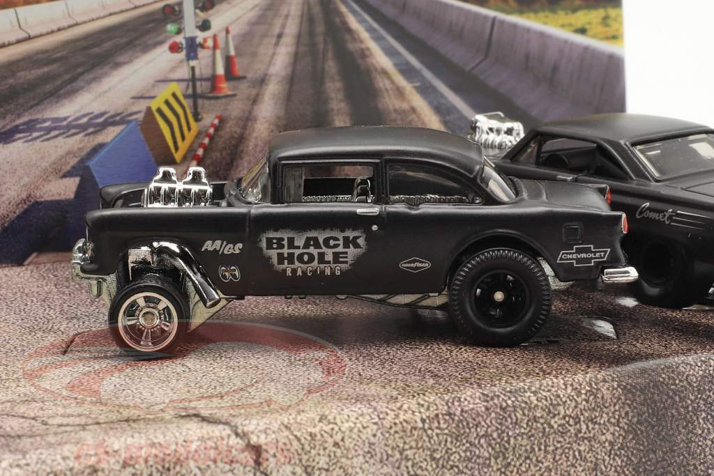4-Car Set Black Hole Gassers mat donkergrijs 1:64 HotWheels