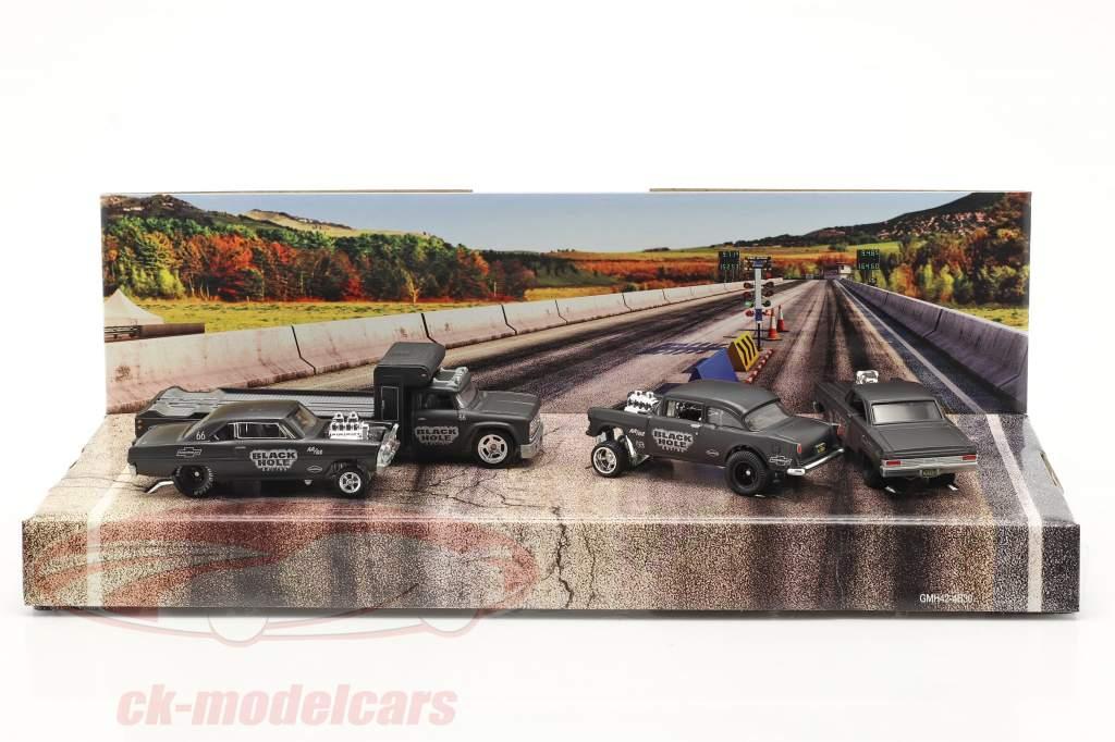 4-Car Set Black Hole Gassers tapis gris foncé 1:64 HotWheels